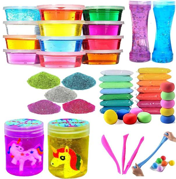 anjanaware Designer and Pretty Crystal Colorful Sparkling Glittery Slime for Kids Pack of COMBO Multicolor Putty Toy Multicolor Putty Toy