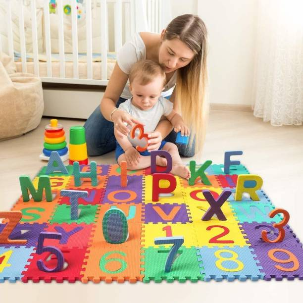 TITIRANGI 36 Pieces Mini Puzzle Foam Mat for Kids, Interlocking Learning Alphabet and Number Mat for Kids