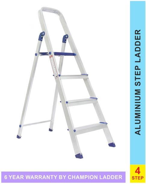 champion ladders Advance Carbon-4 Step Aluminium Ladder with Scratch Resistance Heavy Platform Aluminium Ladder
