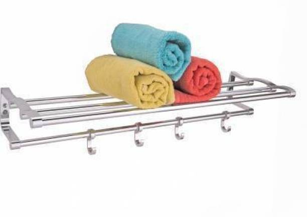 CSI INTERNATIONAL Premium Stainless Steel Folding Towel Rack/Towel Stand/Hanger/Bathroom Accessories(18 Inches) Chrome Plated Towel Holder (Stainless Steel) 18 inch 4 Bar Towel Rod