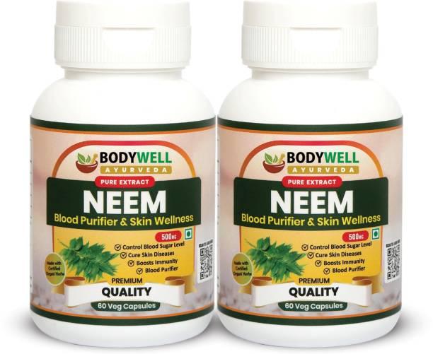 BODYWELL Neem Pure Extract Capsule | Immunity Booster | Anti-Inflammatory | Strong Antioxidant | Blood Purifier | Skin & Hair Wellness | 500 mg