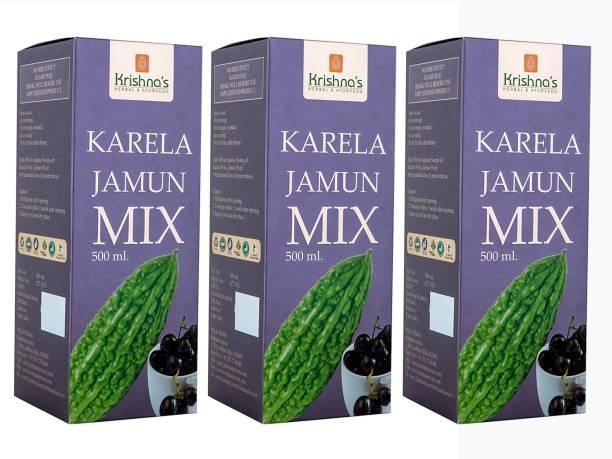 Krishna's Herbal & Ayurveda Karela Jamun Mix Juice | Pure Ayurvedic and Natural | Improves Digestion | Helps Control Blood Sugar | Rich in Antioxidants | Pack of 3 | 500ml each