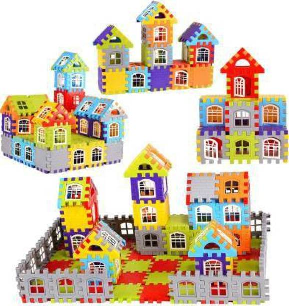 Krivan Pack of 200+ Pcs Multi-Colored Mega Jumbo Happy Home House Building Blocks with Attractive Windows and Smooth Rounded Edges - Building Blocks for Kids (Multicolor)