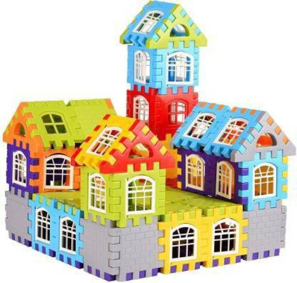 Krivan Small Size Building Blocks for Kids – 65 Pcs, House Building Blocks with Windows, Block Game for Kids -Multicolor (Multicolor)