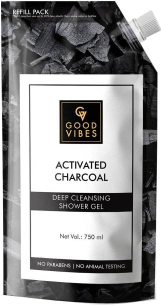 GOOD VIBES Activated Charcoal Deep Cleansing Shower Gel (Body Wash) Refill Pack