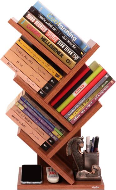 Captiver Stemma Wall Mounted Book Stands Table Accessory C.Walnut Engineered Wood Open Book Shelf