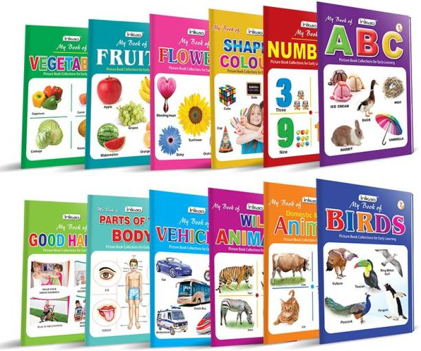 Picture Book Collections for Eary Learning (Set of 12) - My Book of ABC, My Book of Numbers, My Book of Colours & Shapes, My Book of Flowers, My Book of Fruits, My Book of Vegetable, My Books of Birds, My Book of Domestic animals, My Book of Wild Animals, My Book of Tables, My Book of Rhymes & My Book of Good Habits
