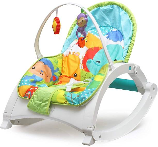 Magicwand Newborn-to-Toddler White Baby-Rocker Cum Bouncer with Vibrations Rocker and Bouncer