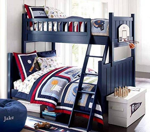 APRODZ Solid Wood Erich Bunk Bed for Bedroom   Blue Finish Solid Wood Bunk Bed