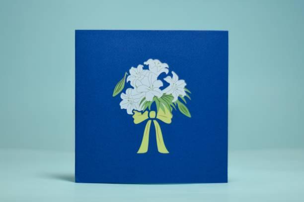 cardpop White Lily Bouquet 3D pop up Greeting Card