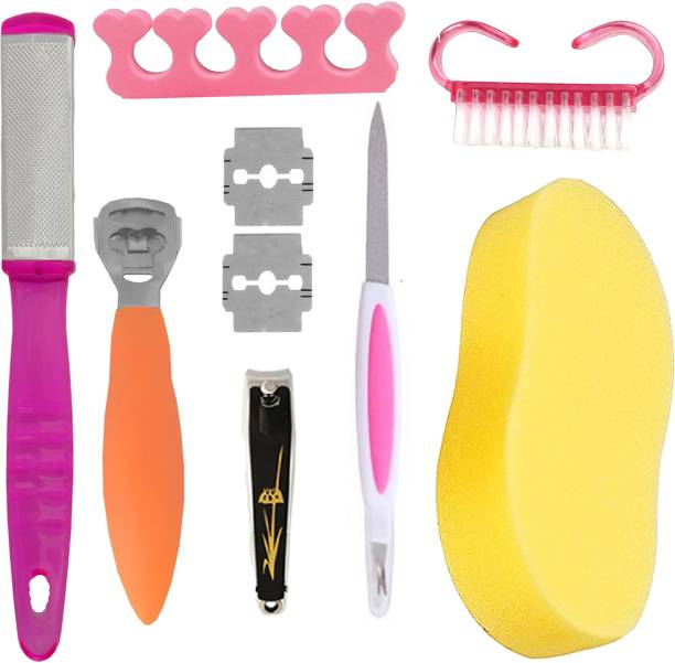 MGP Fashion Foot care combo cracked, rough Dead Hard Skin Callus Remover, Collections of best product corn cutter , foot filer , brush ,sponge ,Nail Cutter & Filer .Foot Care Professional tools Stainless Steel and good plastic hot Manicure and Pedicure Grooming Personal Care Kit Luxury Nail Design for girls women and men