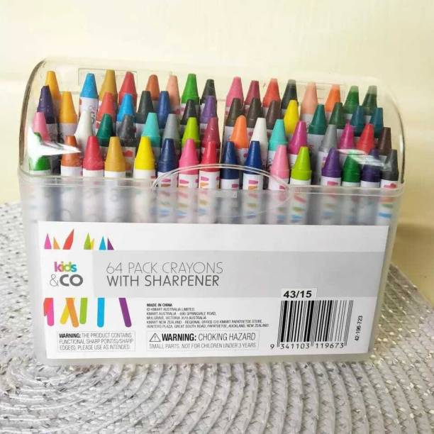 Shanaya 64 Pieces Non Toxic Crayons, Easy to Hold Crayons Set For Kids With Sharpener For Kids, Children, Girls, Boys