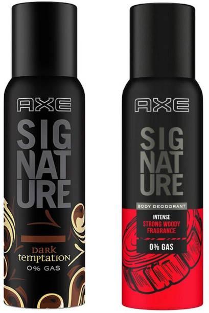 AXE signature dark temptation body perfume 154ml + intense strong woody fragrance 122ml Body Spray  -  For Men