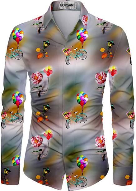GOPGAN TRENDZ Cotton Polyester Blend Printed Shirt Fabric
