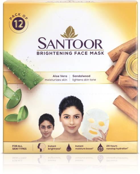 santoor Brightening Sheet Mask Aloe & Sandal(Pack of 12)