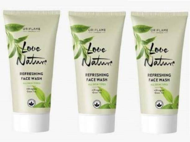 Oriflame Sweden Oriflame Love Nature Refreshing with Green Tea Pack of 3  Face Wash