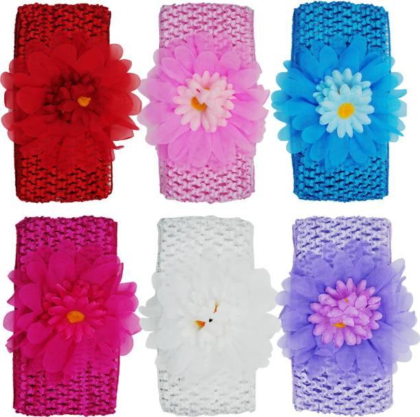 netboys Crochet Cutwork Flower Baby Headband ( Red, Pink, Blue, Pink, White, Purple ) 6 Pcs Set Head Band