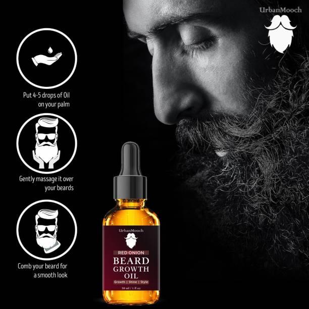UrbanMooch Red Onion Beard Growth Oil for Strong and healthy beard growth & Patchy- Hair Oil