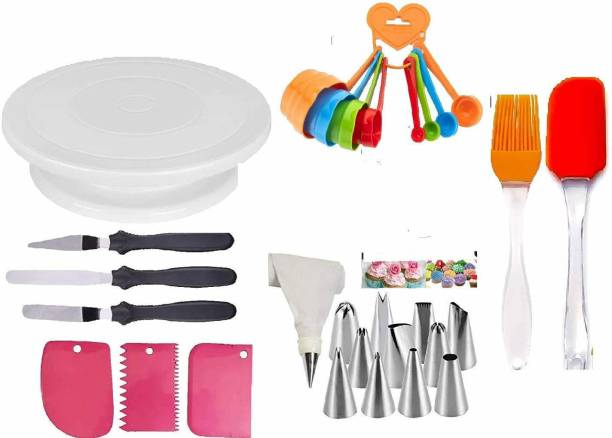 BG cake decorating 8 Cake Tools Round Easy Rotate Turntable + 8-Pc Black Measuring Cups + Silicone Spatula And Brush Set + 4 Pcs Set Scraper + 12 Piece Cake Decorating Set And Server Set Popular Combo 7 In 1 - Cake Tools Round Easy Rotate Turntable + 8 Pcs Color Measuring Cups, 3 in 1 knife Silicone Spatula And Brush Set + Scraper For Cake With 12 Piece Cake Decorating Set Piping Bag + E And MachineServer Set With (Reusable & Washable) Multicolor Kitchen Tool Set (Multicolor) Kitchen Tool Set