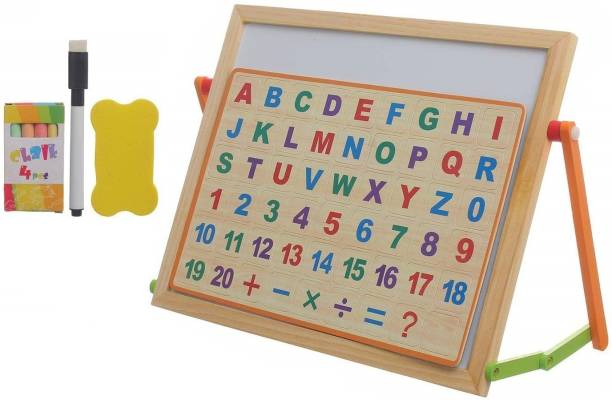HALO NATION Kids 2 in 1 Wooden Writing Board Double Sided Magnetic White Black Board with Alphabets Numbers Maths Learning Educational Toy for Kids (12 Inches x 10 Inches) - Light Weight Safe to use