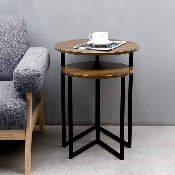 PRITI Round Nesting Coffee Table - Set of 2 Coffee Table Metal Nesting Table