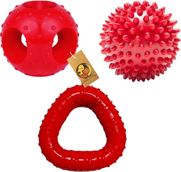 FOODIE PUPPIES Rubber Toy Combo (Hole Ball + Trio Chew + Spike Ball) Rubber Fetch Toy, Rubber Toy, Chew Toy For Dog