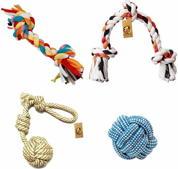 FOODIE PUPPIES Durable Cotton Chewable Rope Teething Playing Toy for Small to Medium Dogs, Combo Cotton Chew Toy, Fetch Toy, Soft Toy For Dog