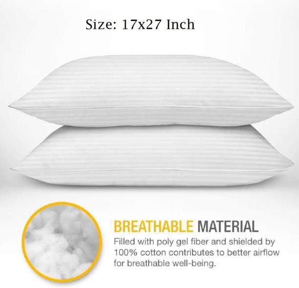 KHUKU Polyester Fibre Solid Sleeping Pillow Pack of 2