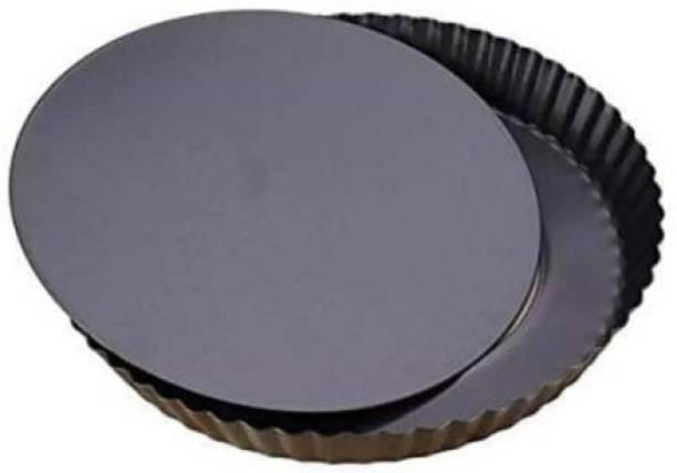 SHAVIRO Non-Stick Carbon Steel Pie Dish Tart Quiche Pizza Pan Removable Loose Bottom, 20cm, Black - 1 Pc Pizza Maker