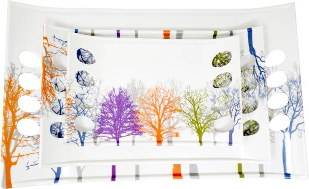 UPC Melamine Multicolor White Floral Stylish Serving Tray, Set of 3 Royale Series Tray