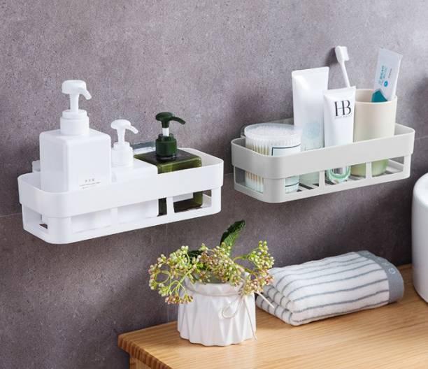 HOUSE OF VIPA Bathroom Rack/Shelf Wall Shelf (Number of Shelves - 2, White ) Plastic Wall Shelf