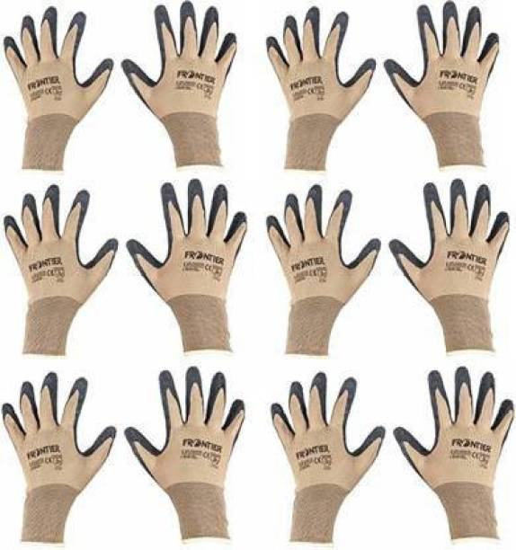 SSWW Half-Dip Coating Gloves For Industrial & Construction Use Nitrile Safety Gloves (12) Synthetic  Safety Gloves