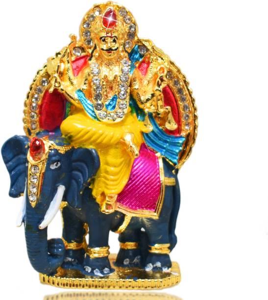 Devavrata Creations Lord Vishwakarma Seating on Elephant Metal with Crystal Diamond Studded God Idol Showpiece for Pooja Size 3 Inch Approx (Multicolor) Decorative Showpiece  -  7 cm