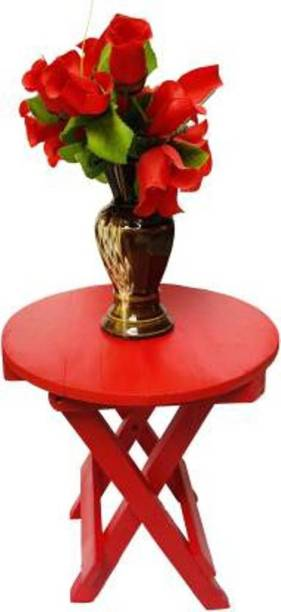 Wooden Art &Toys 12 INCHES GLOSSY RED PAINTED Solid Wood Side Table