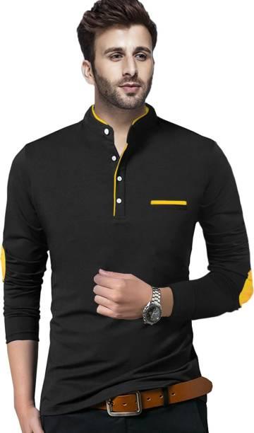TRIPR Solid Men Henley Neck Black, Yellow T-Shirt