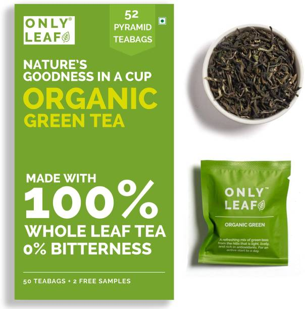Onlyleaf Organic Green Tea for Weight Loss, Made with 100% Whole Leaf, Sourced from Highlands of Darjeeling, 52 Pyramid Tea Bags (50 Tea Bags + 2 Free Samples) Green Tea Bags Box