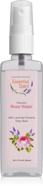 Essential Spirit Premium Rose Water / Skin Toner - Gulab Jal With Lavender For Acne & Pimples, Open Pores, Natural Glow - Organic Men & Women