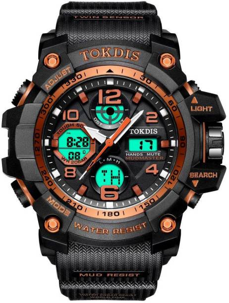 Tokdis GTX-9 Watch For Men - Premium Imported Casual Sporty Analog Digital Automatic Day and Date Function Black and Red Dial Black Synthetic Leather (Silicon) Strap watch for Men and Boys Analog-Digital Watch  - For Men