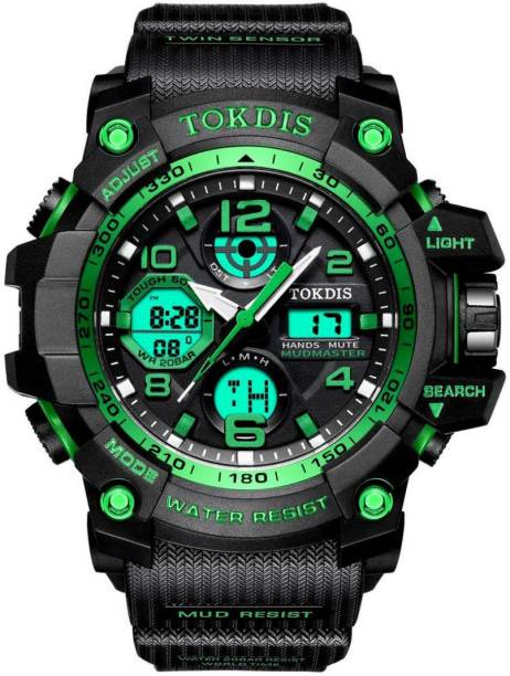 Tokdis GTX-12 Watch For Men - Premium Imported Casual Sporty Analog Digital Automatic Day and Date Function Black and Red Dial Black Synthetic Leather (Silicon) Strap watch for Men and Boys Analog-Digital Watch  - For Men