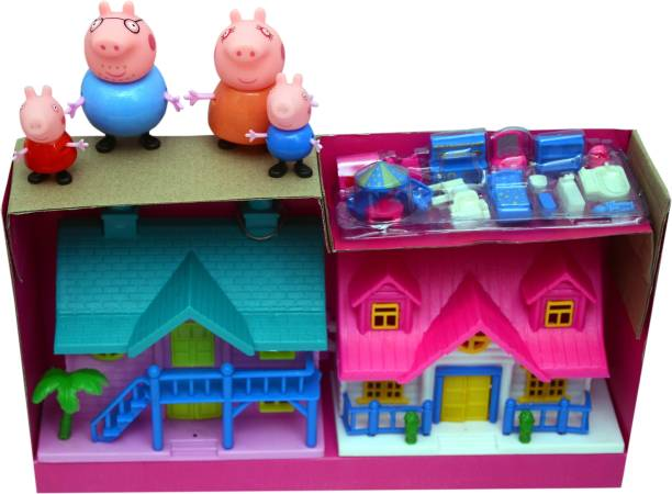 amisha gift gallery Peppa Pig Family Toys Set With 2 Doll House Toy Set