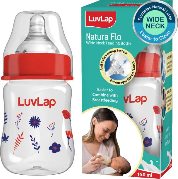 LuvLap 150ml Wide Neck Baby Feeding Bottle, PP, BPA Free, 0m+ (Red Blue Floral) - 150 ml