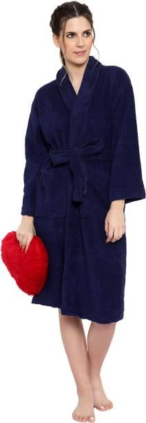 Cotton Trendy Blue Free Size Bath Robe