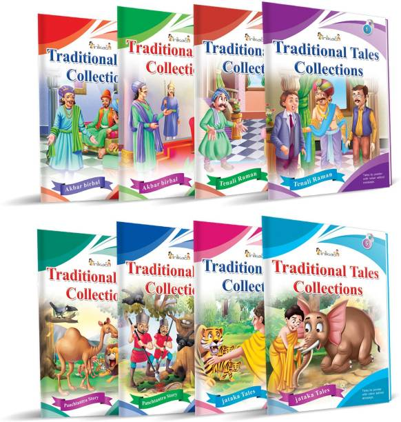 Set of 8 Panchatantra and Traditional Story Books collections for kids in english - traditional tales