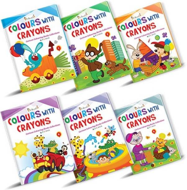 Cartoon Colouring Books Collections Set of 6 - Crayon Colouring
