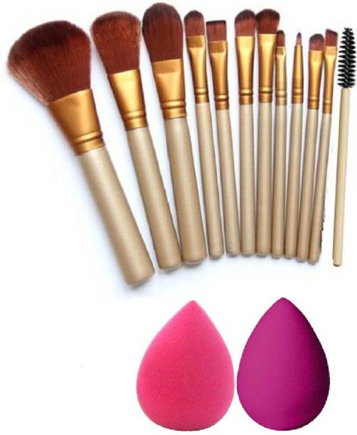 Phiz Beauty 12 Pc Makeup Brush + 2 Puff