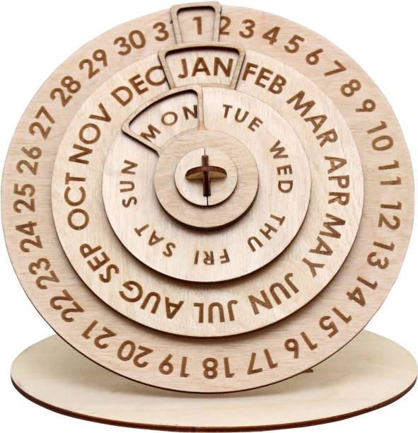 Heartily Premium Quality Wooden Perpetual Calendar for Personal and Office use. Perpetual Table Calendar