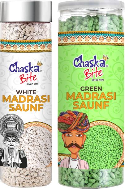 CHASKA BITE  Saunf Mukhwas Mouth Freshner White and Green Saunf Fennel Seeds Paan Flavour Combo Pack of 2  PAAN, MINT Candy