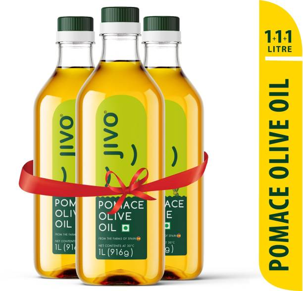 JIVO Pomace Olive Oil Plastic Bottle 1 Ltr (Pack of 3) Olive Oil Plastic Bottle