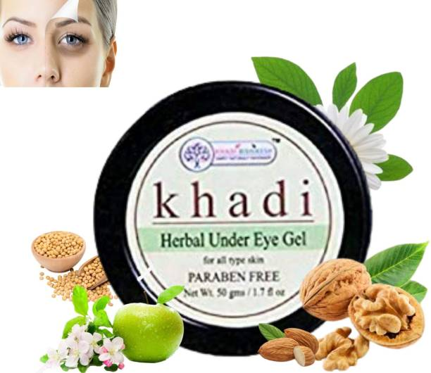 Khadi Rishikesh Herbal Natural Under Eye Gel,brightens the eye area & overall eye appearance immediately reduces the appearace on dark circle & puffness,significantly reduceds the appearance of fine lines (50gm)