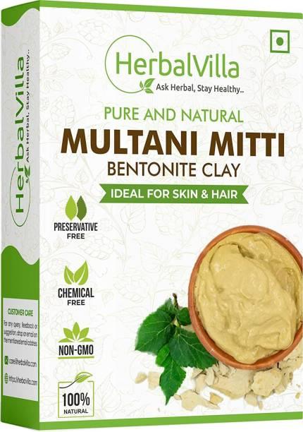 herbalvilla Pure & Natural Herbal Multani Mitti (Bentonite clay ) Face Pack Powder for Glowing Dry Skin